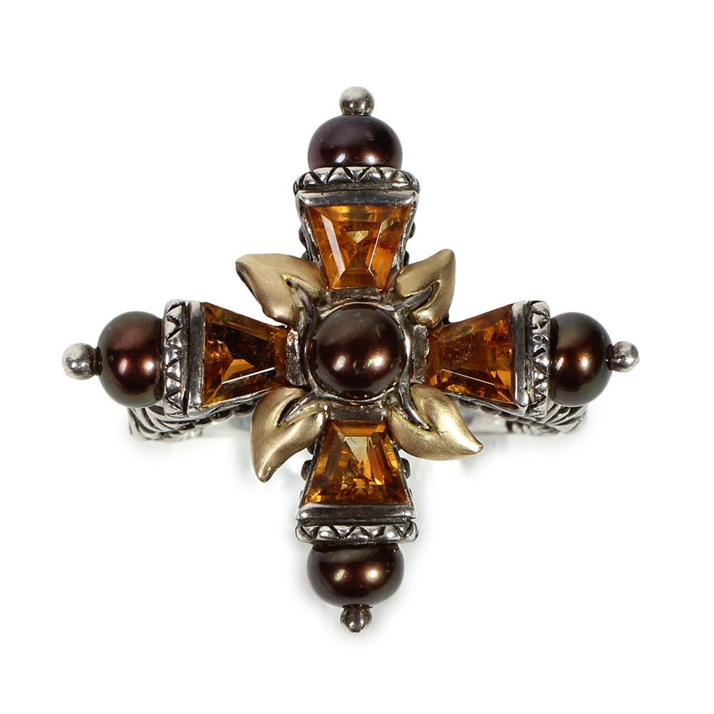 Barbara Bixby Size 6 Citrine Sterling Silver 18k Yellow Gold Cross Ring
