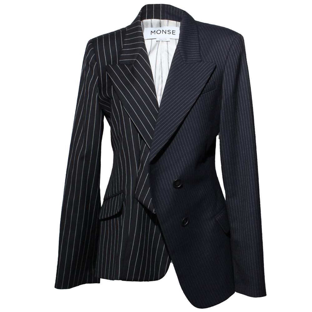 Monse Size 10 Pinstripe Navy & Black Blazer