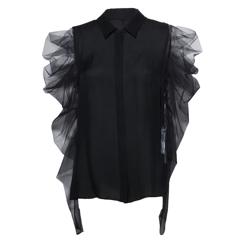 Cushnie Size 10 Black Silk Blouse