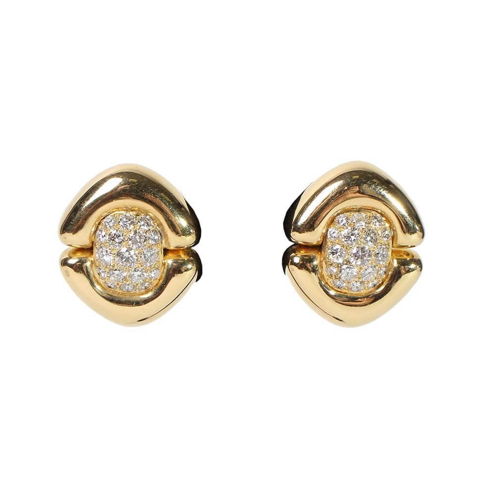 18k Yellow Gold Pave Diamond Earrings