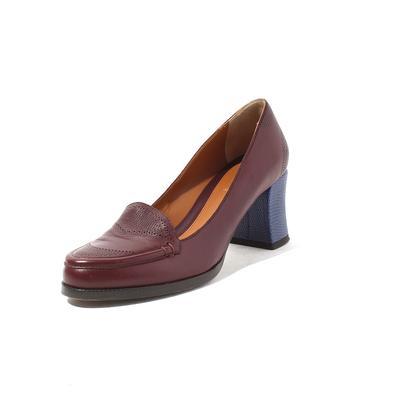 Fendi Size 7.5 Burgundy & Blue Leather Heels
