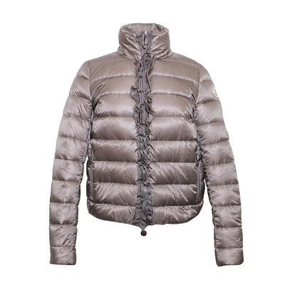 Moncler Size 0 Grey Ruffle Down Jacket