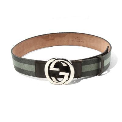 Gucci Size 33 Canvas Leather Belt