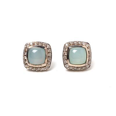 David Yurman Diamond Halo Blue Chalcedony Earrings