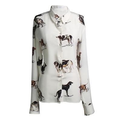 Stela McCartney Size 46 Dog Print Silk Blouse