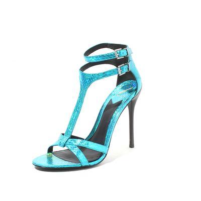 Brian Atwood Size 10 Metallic Blue Python Embossed Laetitia Heels