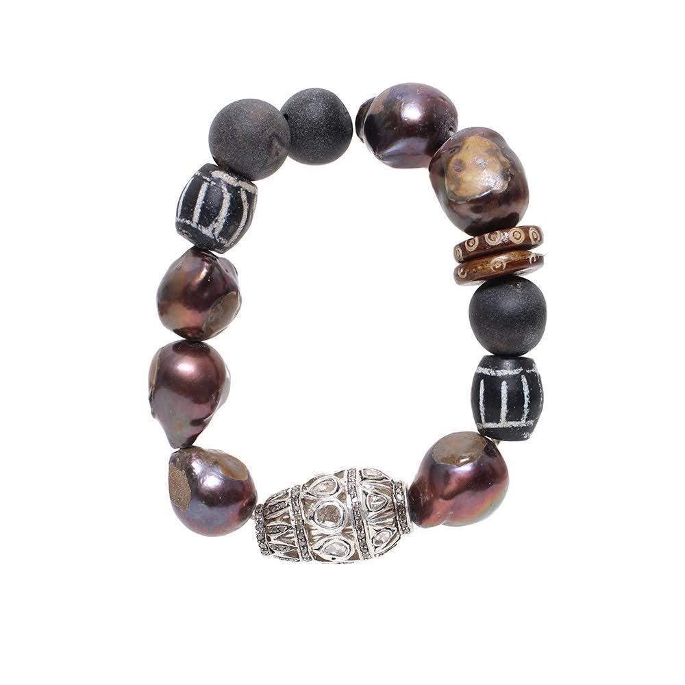 The Woods Black Pearl And Diamond Bracelet