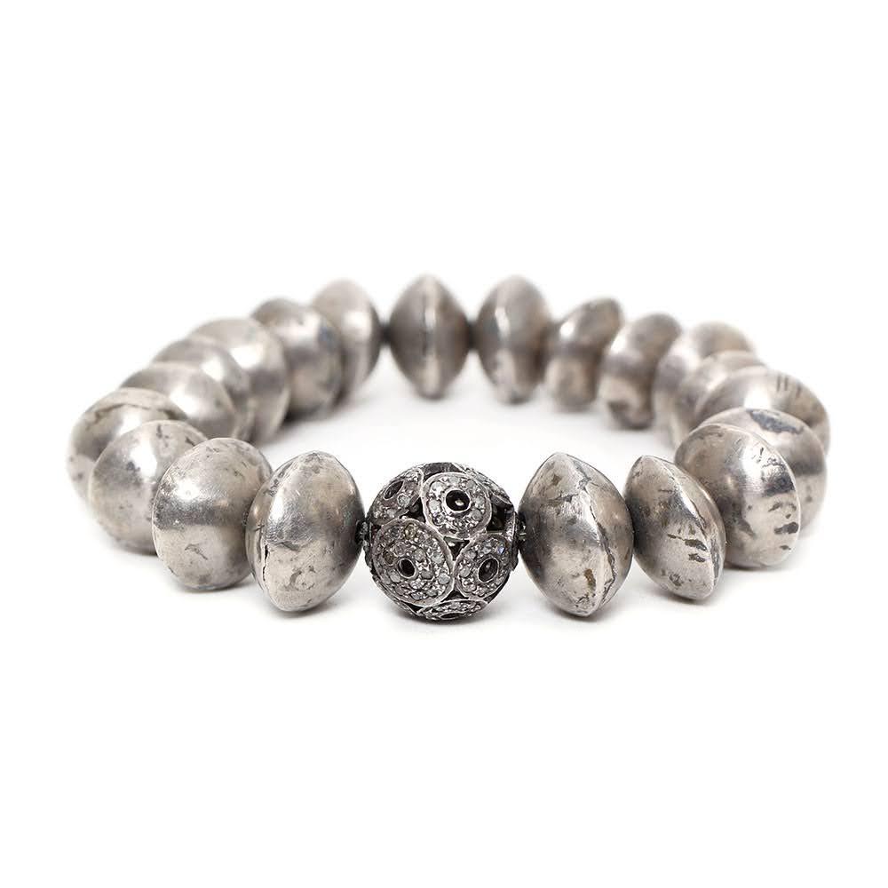 The Woods Diamond Metal Bead Bracelet