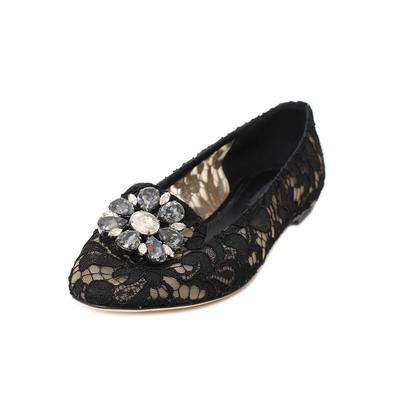 Dolce & Gabbana Size 10 Black Lace Flats