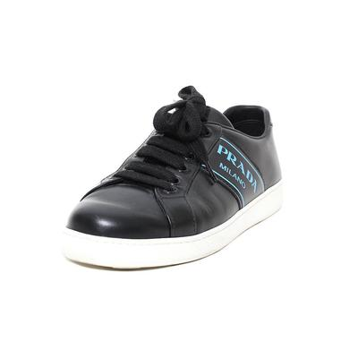 Prada Size 6.5 Logo Leather Sneakers