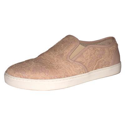 Dolce & Gabbana Size 7.5 Pink Lace Slip Ons