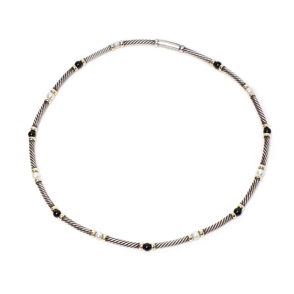 David Yurman Onyx Hampton Cable 14k Gold Bead