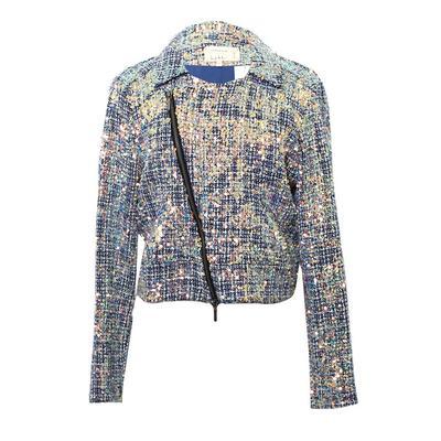 Nicole Miller Size Large Sequined Tweed Moto Jacket