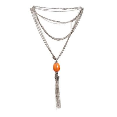 Nan Fusco Diamond Orange Bead Drop Necklace