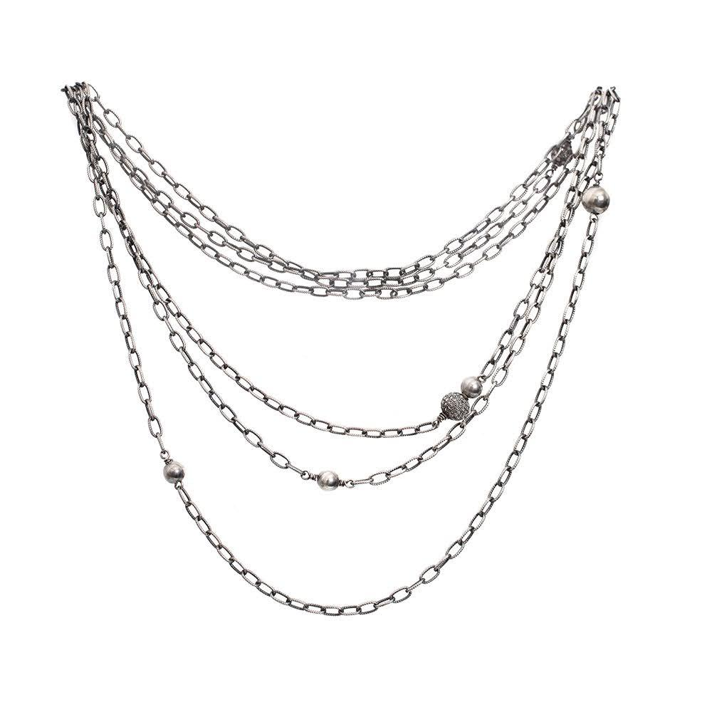 Liza Beth Chain And Diamond Balls Necklace