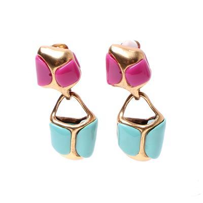 Oscar De La Renta Mod Acrylic Pink/Turquoise Clip On