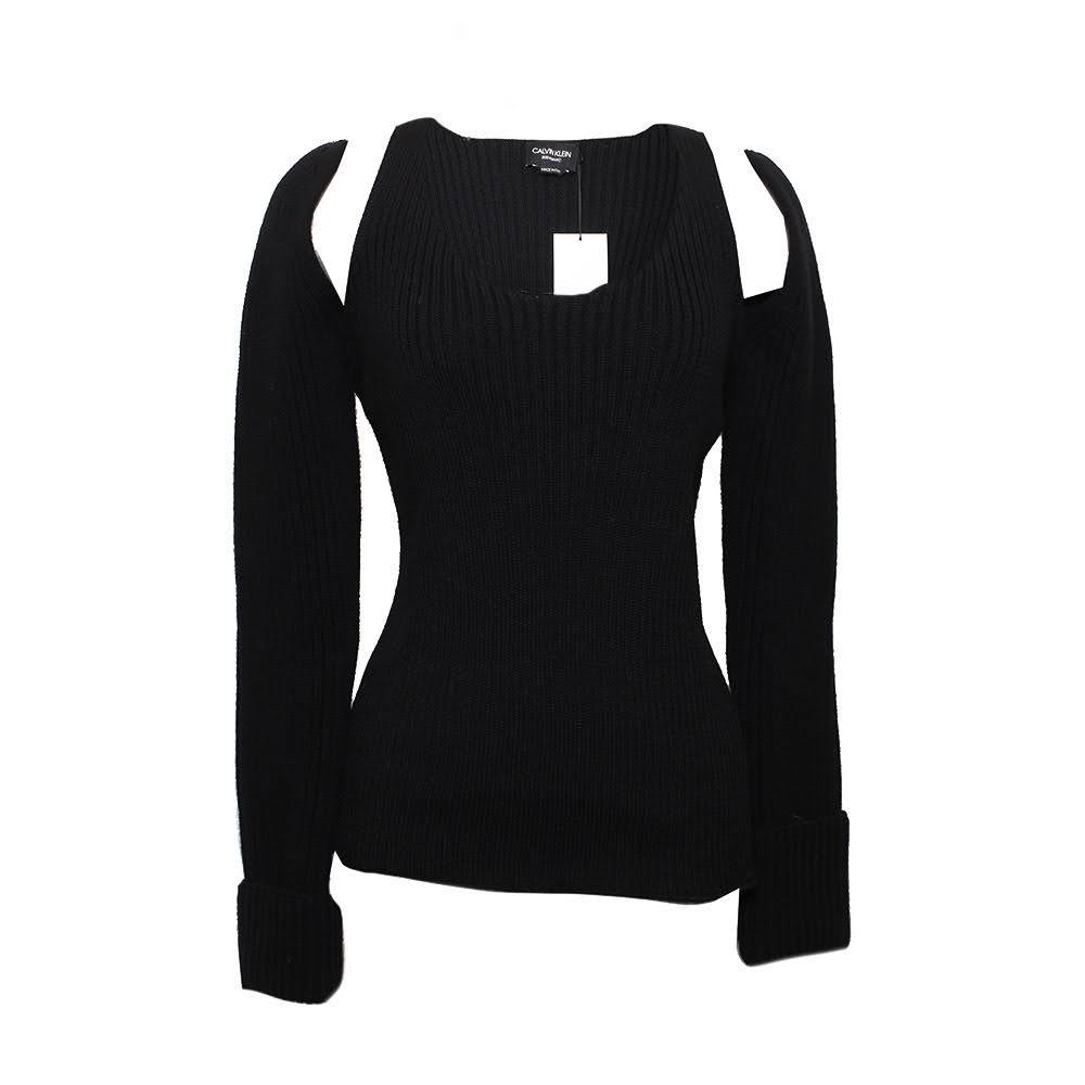 Calvin Klein Size Small Black Knit Cutout Blouse