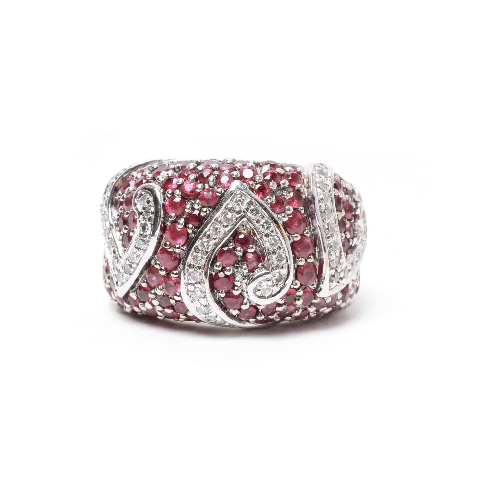 Sonia B.Size 7 18k White Gold Ruby & Diamond Dome Ring