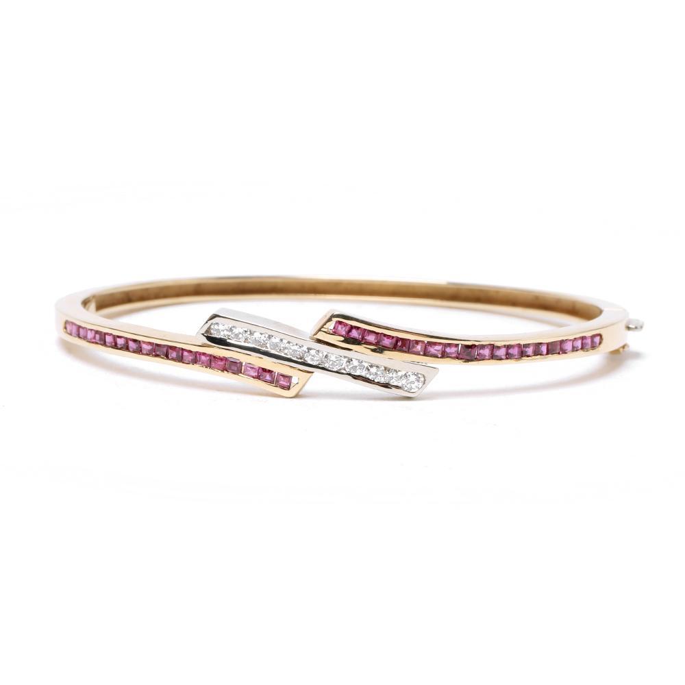 14k Yellow Gold Diamond & Ruby Bracelet