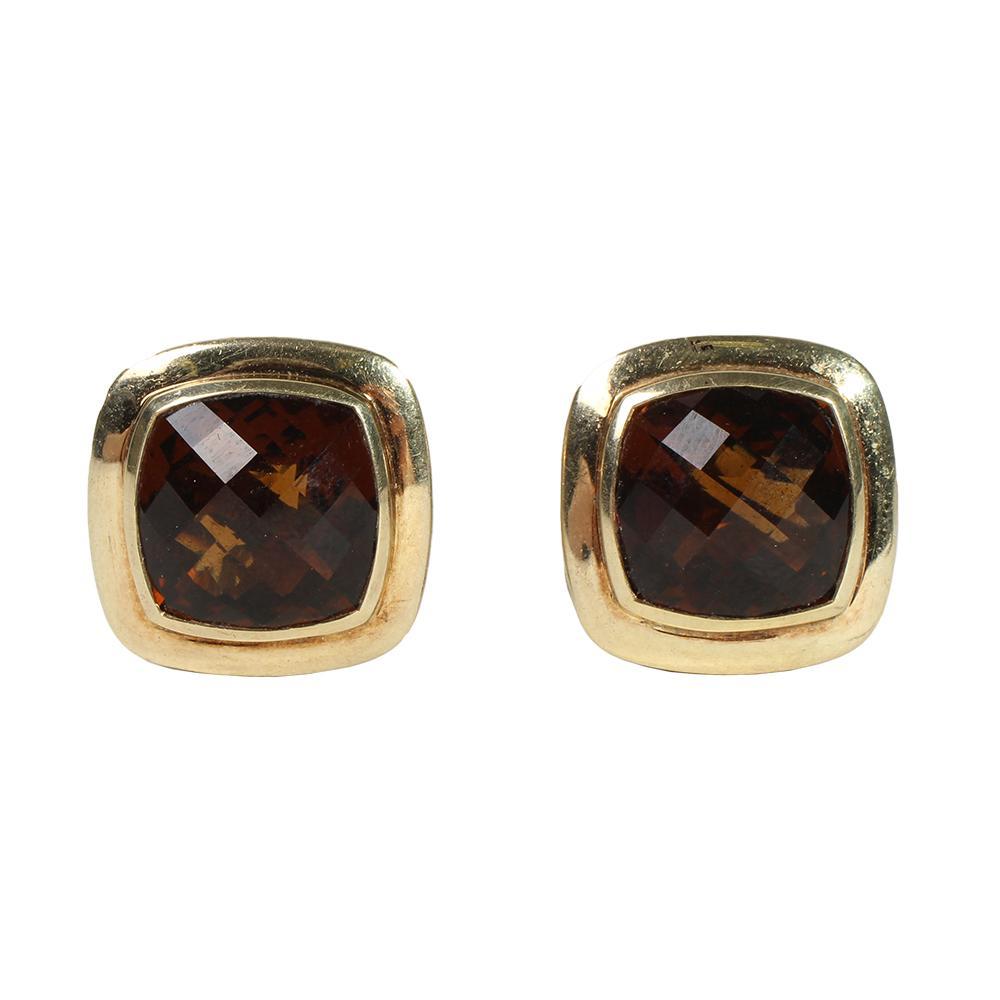 David Yurman Sterling & 18k Yellow Gold Albion Citrine Earrings