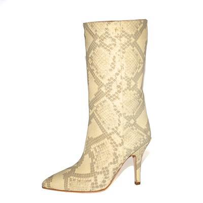 Paris Texas Size 38.5 Snake Skin Cowboy Boot Heels