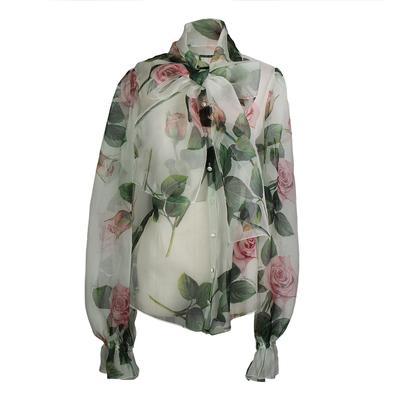 Dolce and Gabbana Size 46 Floral Chiffon Blouse