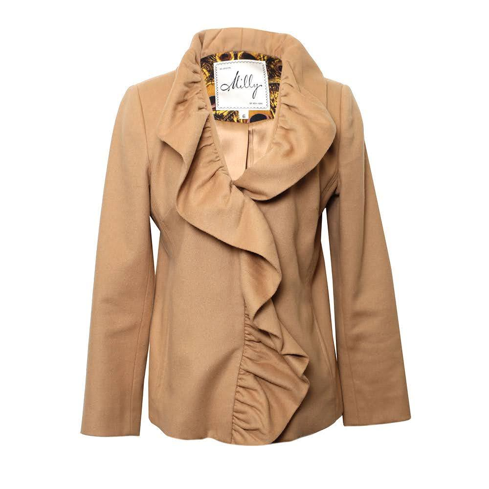 Milly Size 2 Tan Ruffle Jacket