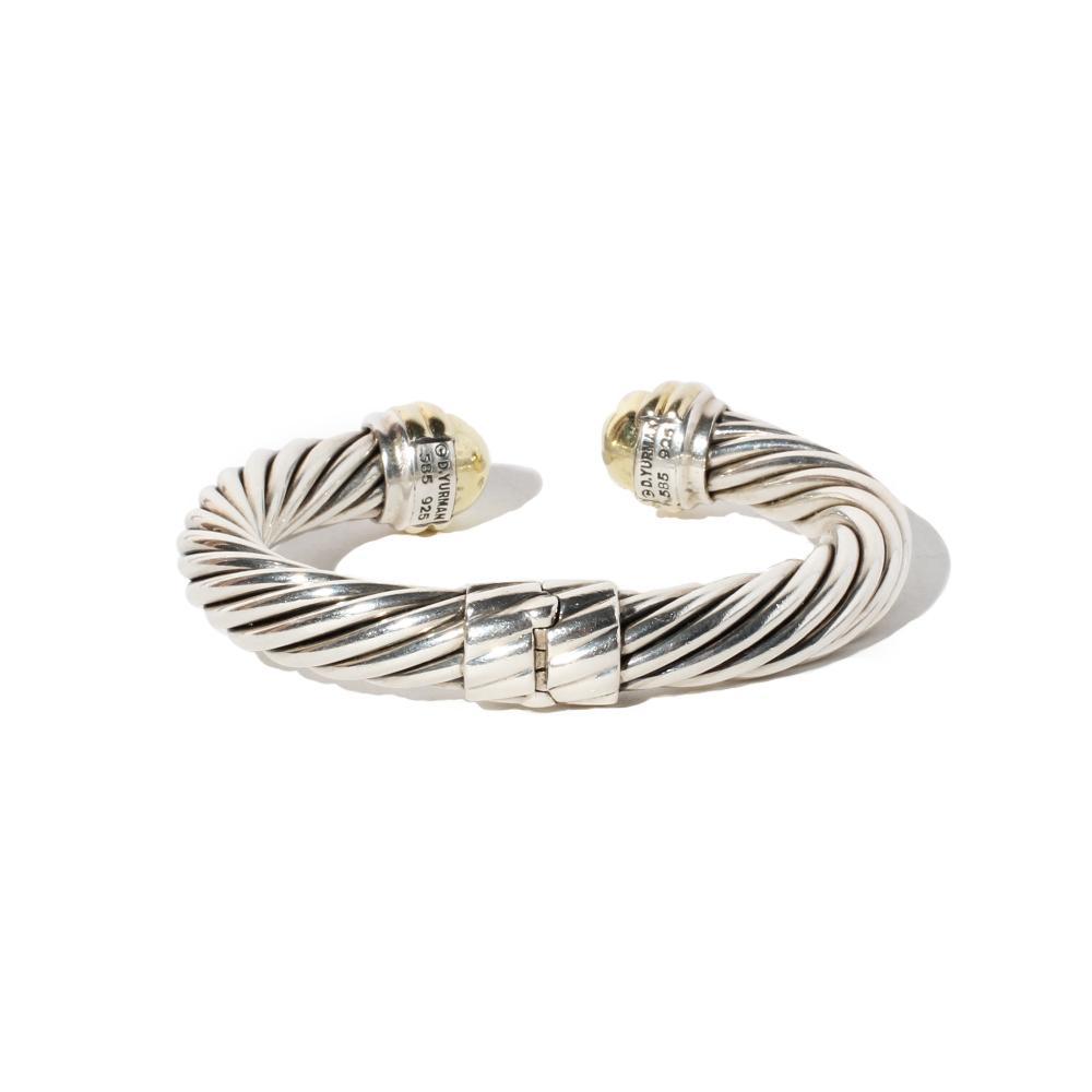 David Yurman Two- Tone Sterling Silver & 14k Gold Cable Cuff