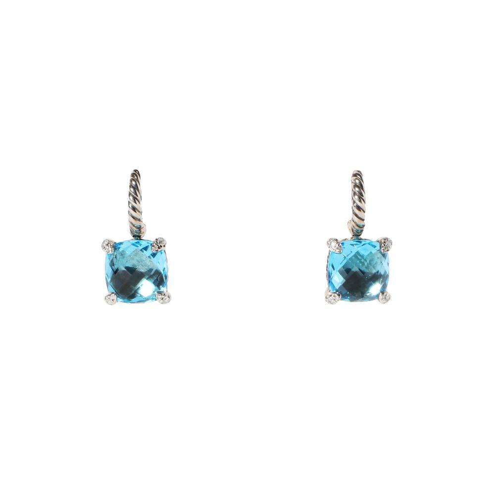 David Yurman Chatelaine Blue Topaz & Diamond Drop Earrings