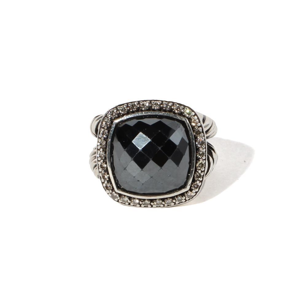 David Yurman Size 7 Albion Ring With Black Onyx & Diamonds