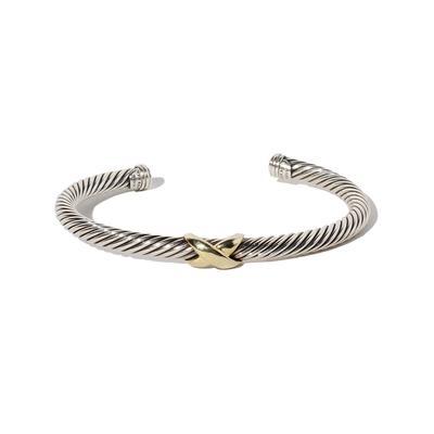 David Yurman Sterling Silver & 14k Gold Cable Bracelet