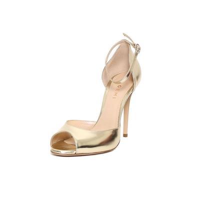 M. Gemi Size 7.5 Gold Peep Toe Heels