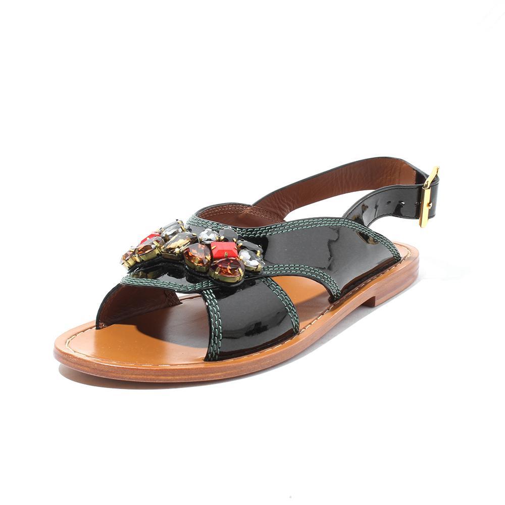 Marni Size 9.5 Jeweled Patent Leather Sandals