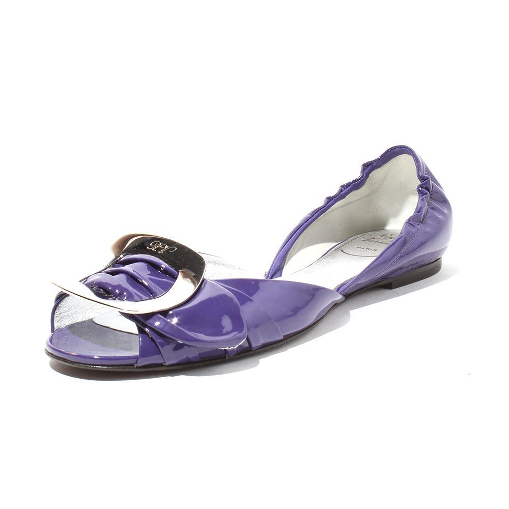 Roger Vivier Size 7.5 Purple Peep Toe Flats