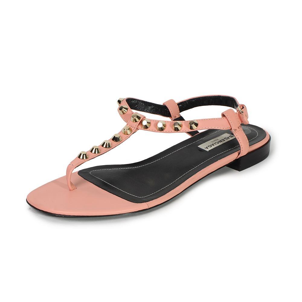Balenciaga Size 8 Studded T- Strap Sandals