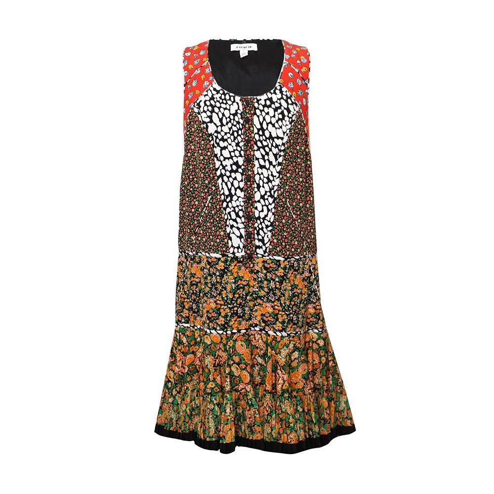 Coach Size Small Multi Print Sleeveless Dress