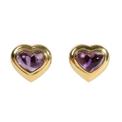 M Stamped 18KYG Amethyst Heart Earring