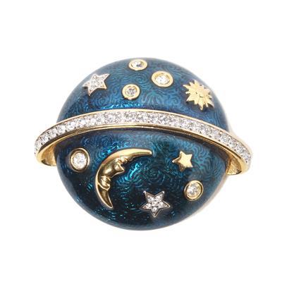 Vintage Swarovski Celestial Enamel Orbit Brooch