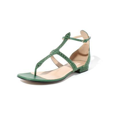 Valentino Green Gladiator Size 9.5 Sandal with Rhinestones