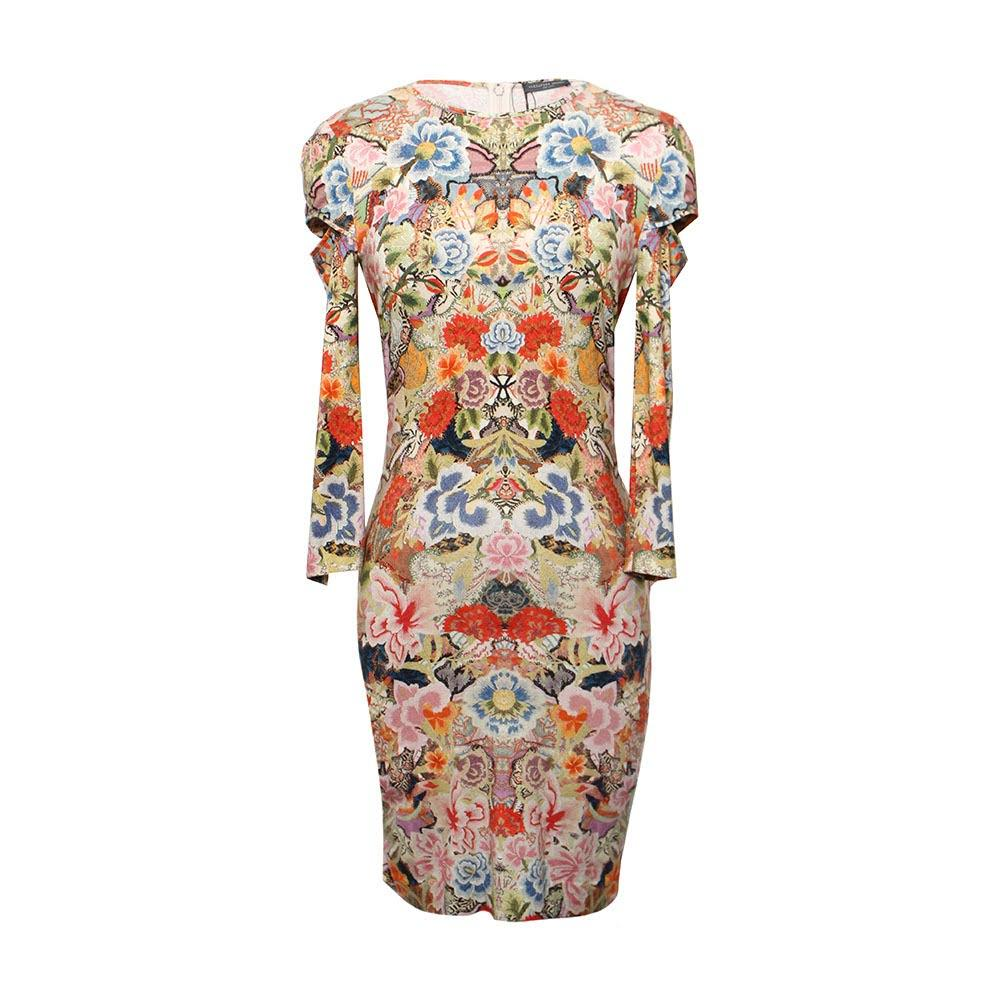 Alexander Mcqueen Size 10 Print Bodycon Dress