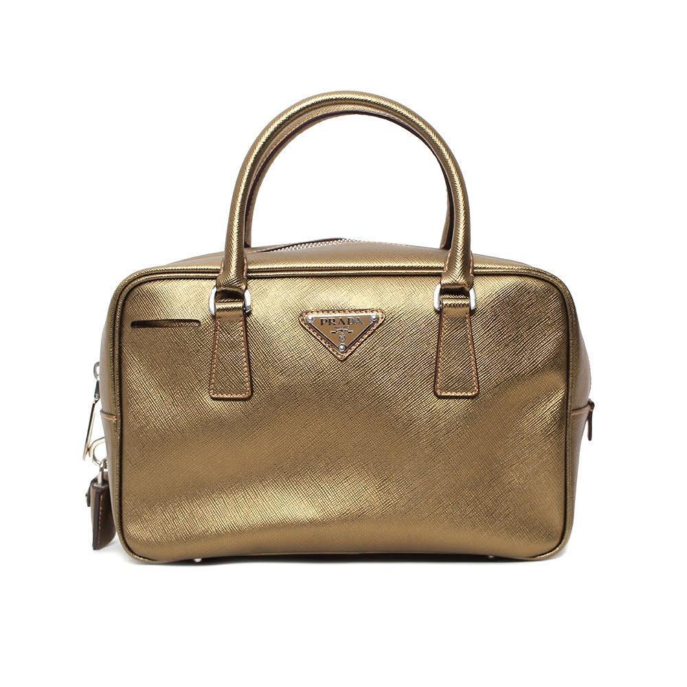 Prada Gold Saffiano Leather Bowler Bag