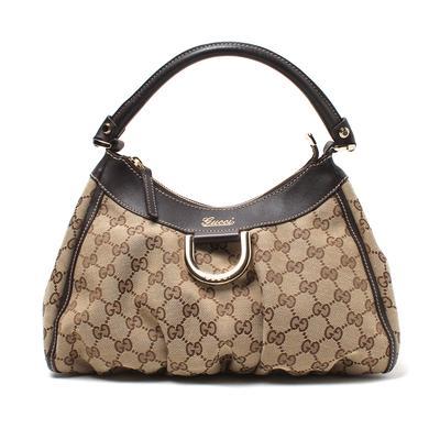 Gucci Monogram Ring Canvas Hobo Bag