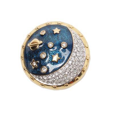 Swarovski Vintage Celestial Moon Enamel Brooch