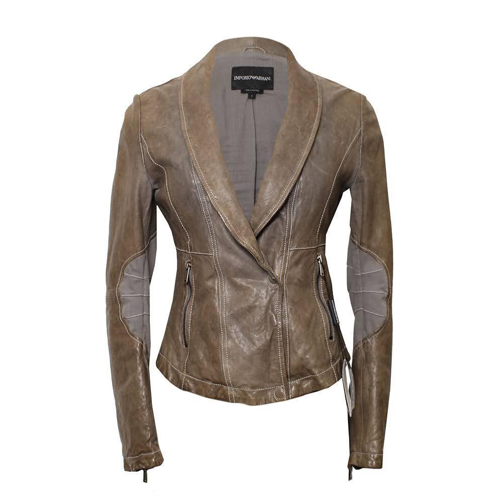 Emporio Armani Size 4 Green Leather Jacket