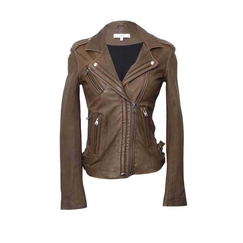 Iro Size 34 Green Leather Biker Jacket