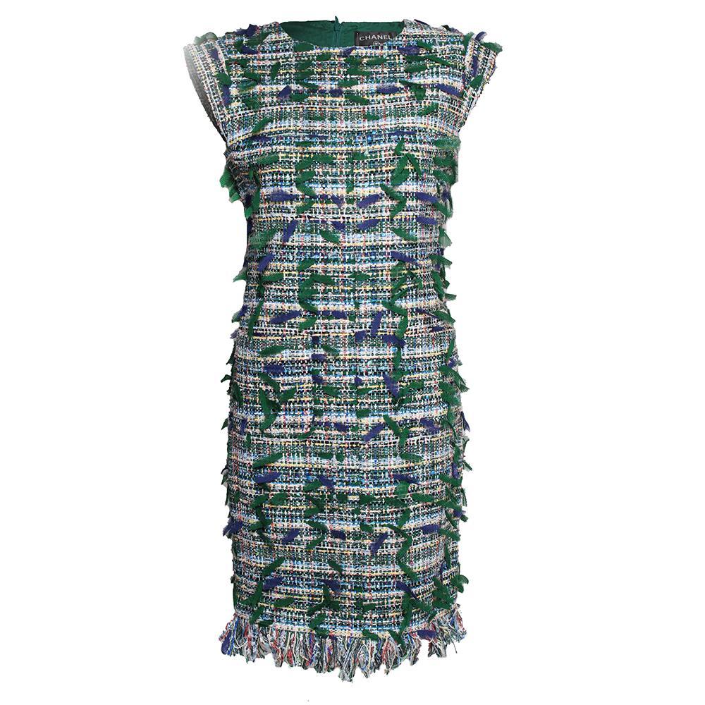 Chanel Size 36 ' 18 Green Fringe Tweed Dress