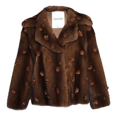 Valentino Size 40 Floral Applique Mink Coat