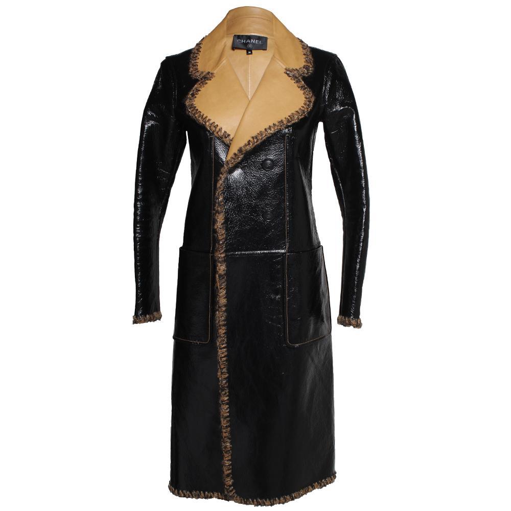 Chanel Size 36 Lambskin Leather Woven Trim Jacket