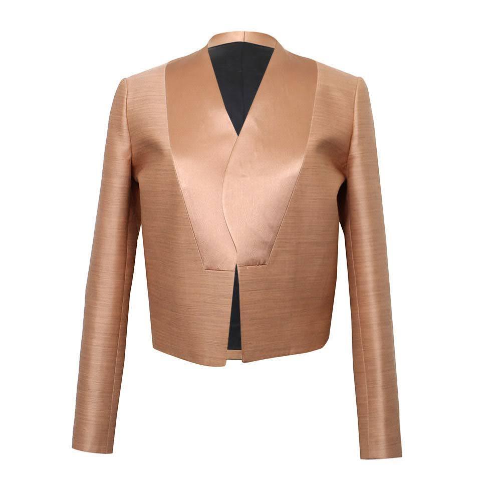Celine Size 34 Rose Gold Cropped Blazer