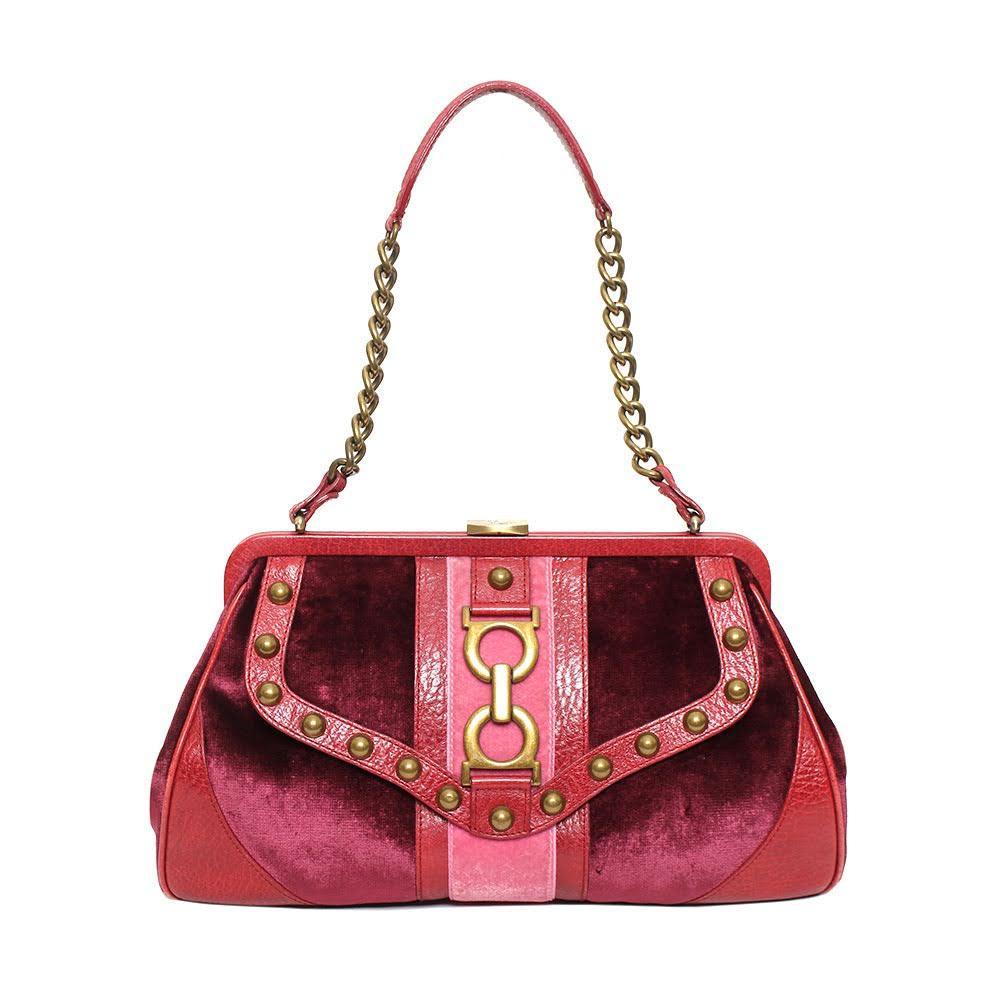 Isabella Fiore Maroon Velvet Handbag